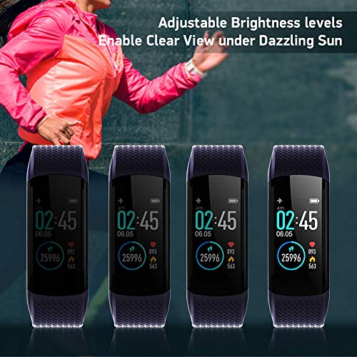 WalkerFit Fitness Tracker, Activity Tracker with Heart Rate Monitor, Waterproof Standard Smart Watch with Pedometer, Deep Blue 6