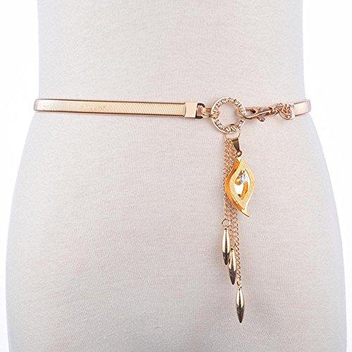 SZH&BELT Metall Bauchkette Frauen-elegante Diamant-Dekoration Feiner elastischer Gürtel , golden angel eye 75cm