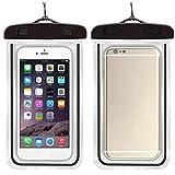 Waterproof Phone Case - 2 Pcs in Set Black Color Outdoor Practical Portable Waterproof Phone Bag Black Color with Cases for General Phone Within 6 inches for Apple iPhone X, 8, 7, 6 Plus, SE, Samsung