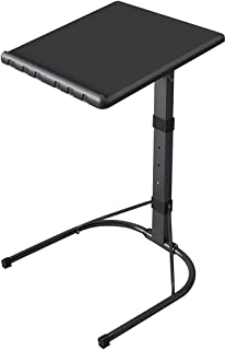 Ibnotuiy Plastic Folding TV Tray Table Portable Adjustable Height Bed Sofa Side/End/Snack/Console Laptop Desk (Black)