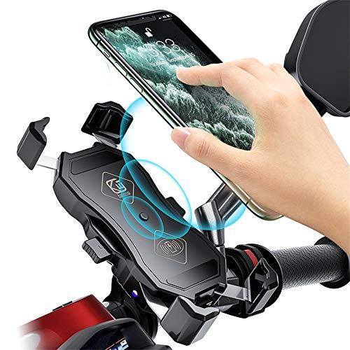 MYYINGELE Soporte móvil Moto Impermeable con Soporte de movil para Bicicleta, QI Cargador Inalámbrico de Carga Rápida de 15 W,Soportes movil Bici, Soporte Smartphone Moto