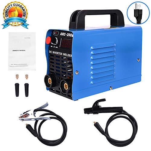 ARC Welder, 200 Welding Machine IGBT Inverter Welder with LCD Display, AC-DC 110V 200 AMP Welding Machine Mini Welder Suit 2.5-3.2 MM Welding Rod Equipment with Accessories Tools