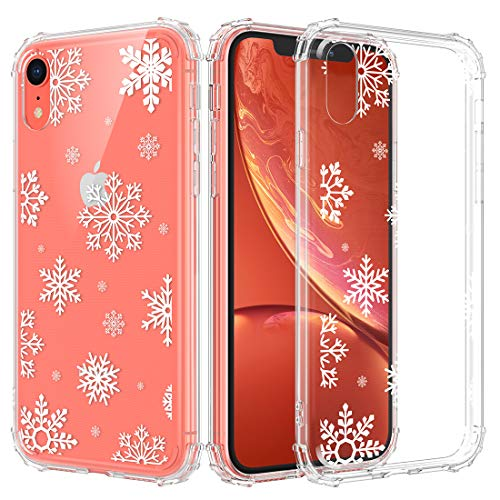 Caka iPhone XR Christmas Case, iPhone XR Christmas Case Clear with Design for Girls Women Girly Slim Soft TPU Transparent Protective Case for iPhone XR 6.1 (Snow)