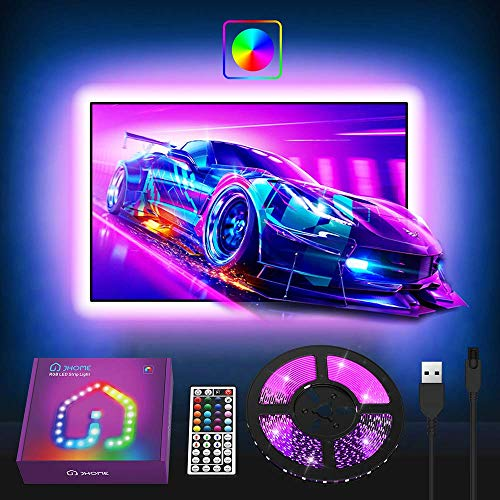 Jhome LED Strip Lights for TV, 9.8Ft RGB LED TV Backlight Strip with 44 Keys Remote Control, USB Powered Bias Lighting for 46-60 Inch TV, PC, Monitor, Mirror, Gaming Room