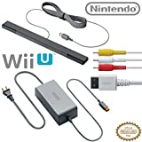 Official Nintendo Wii U Accessory Kit - AC Adapter WUP-002, Composite AV Cable RVL-009, and Sensor Bar RVL-014 - OEM Original Nintendo Wii U Accessories