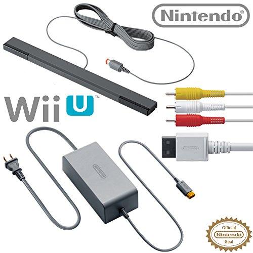 Nintendo Wii U Accessory Kit - AC Adapter WUP-002, Composite AV Cable RVL-009, and Sensor Bar RVL-014 - OEM Original Nintendo Wii U Accessories