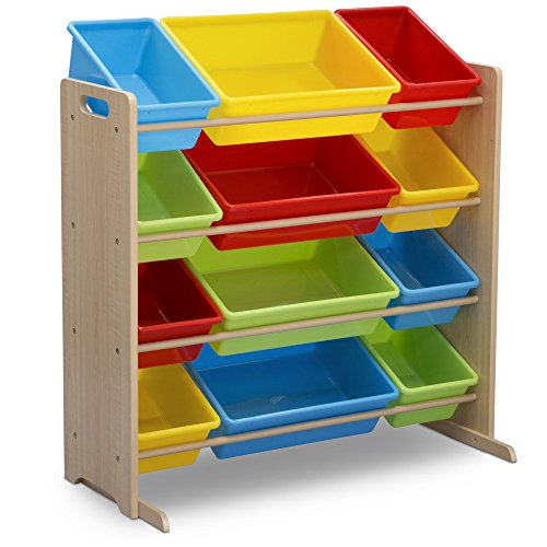 Delta Children Kids Toy Storage Organizer with 12 Plastic Bins, Natural/Primary