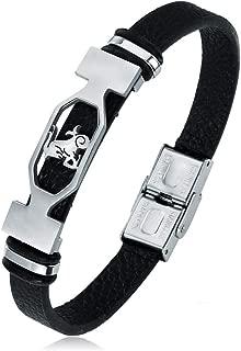 Liujun Mens Bracelets Fashion 12 Zodiac Signs Constellations Stainless Steel Personality Vintage Punk Black Leather Bracelets for Men Women