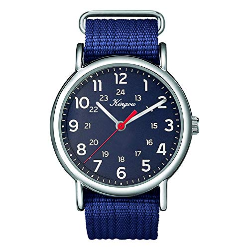Qvwanle Stylish Cool All Arabic Numerals and 24 Hour Military Time Nylon Belt Watch for Gift (F)