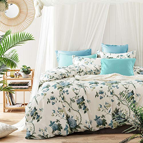 Exotic Modern Floral Print Bedding Birds Flowers Dusty Grey Design 100% Cotton Duvet Cover 3pc Set Hibiscus Blossom Branches in Muted Gray Blue (Queen, Egret White)