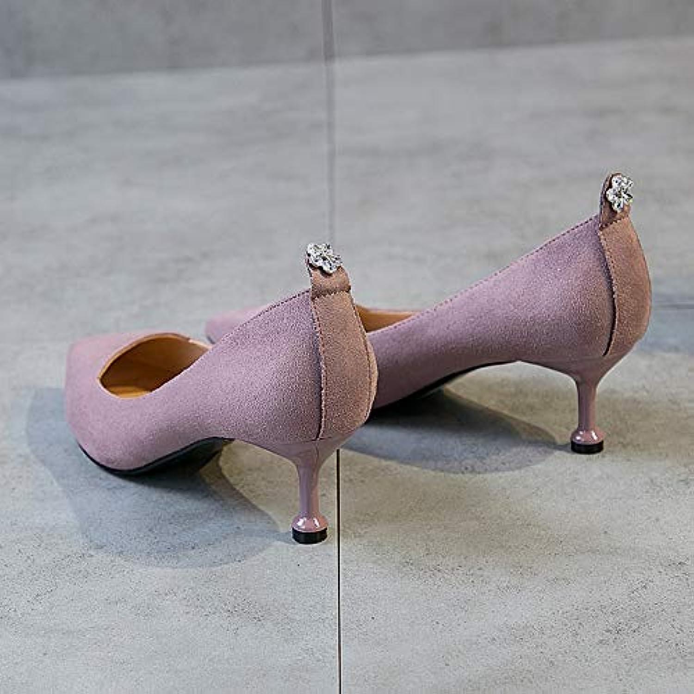 HRCxue Pumps Hochhackige Schuhe Damenschuhe mit vielseitigen Spitzenkatzen und Schwarz mit Einzelschuhen