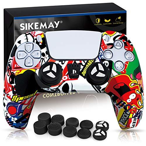 SIKEMAY Silikon-Schutzhülle für PS5 Dualsense Controller Grip x1, Schutzhülle für Playstation 5 Zubehör mit 8 Daumengriffkappen (Passion Graffiti)