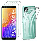 ibetter per huawei y5p cover + pellicola protettiva in vetro temperato [2 pack] soft silicone per huawei y5p custodia, per huawei y5p smartphone.trasparente