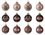 Decoris Bolas de Navidad de cristal con patrón, 8 cm x 12 unidades, bolas de Navidad, color rosa aterciopelado
