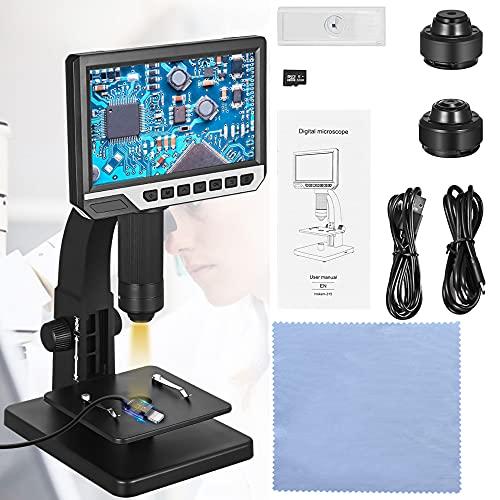 Microscopio Digital, GJCrafts 32G Microscopio Electronico aumento de 0-2000x con 11 LED y lupa doble e 7    Pantalla HD 12mp Cámara, Microscopio de Zoom para Circuito y observación microbiana.