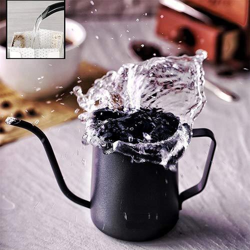 TAMUME 350ml Recipiente de Goteo con 4MM de Tubo Dispensadores de Agua Caliente Teflon Revestimiento Accesorio de Herramienta Manual Filtro de Café Hervidor Pote de Goteo (Negro)