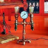 Lámpara de dormitorio Información Luces Edison E27 de la vendimia de escritorio en la alcoba Iluminación de noche noche de la lámpara industrial de Steampunk retro del tubo de agua lámpara de mesa Lof