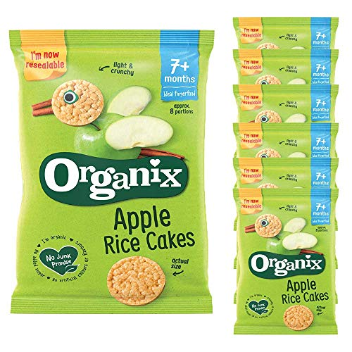 7 x 50g Organix Apple Rice Crackers Organic Snack Baby Food 7+ mnth Children