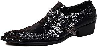 Rui Landed Oxford pour Hommes Chaussures Habillées Slip on Style Premium en Cuir Véritable Monk Strap Metal Bout Pointu en...