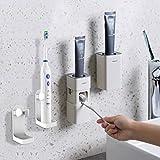 Dispensador de pasta de dientes automático montado en la pared viene con 2 soportes de cepillo de dientes eléctricos, para baño Exprimidor automático de pasta de dientes a prueba de polvo (blanco)