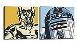 RuidoRosa Juego de Dos Cuadros Star Wars 25x25 cms, impresión sobre Lienzo R2D2 y C3PO