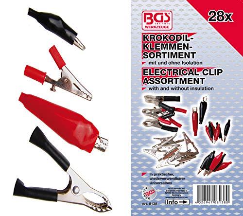 BGS 8138 | Krokodilklemmen-Sortiment | 28-tlg | inkl Sortimentskasten | Batterieklemmen | Polklemmen