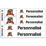 Haberdashery Online Kit 9 Stickers personnalisés pour Motos, Voitures ou vélos. Étiquettes avec Votre Drapeau et Votre Texte. Modèle: Blanc