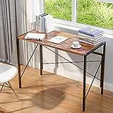 zcyg Escritorio de oficina para computadora portátil, mesa de estudio, plegable, escritorio simple para el hogar, oficina, estilo industrial, 100 x 50 x 75 cm, color marrón rústico