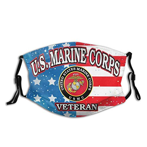 United States Marine Corps Veteran Cloth Face Mask With Filter Pocket Washable Face Bandanas Balaclava Dust-Proof Print Reusable Fabric Mask With 2 Pcs Filters