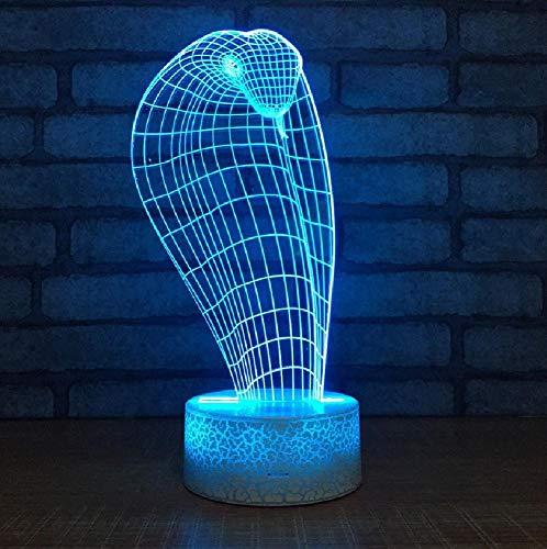 Strange Cobra Night Light Headlamp Led Desk 3D Light Fixtures Kids Room Led Acrylic 3D Night Light