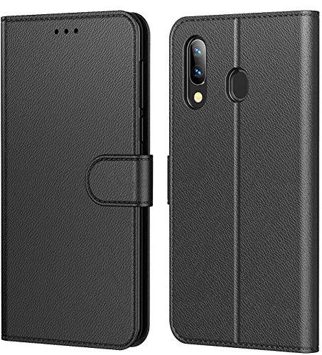 Tenphone Etui Coque pour Samsung Galaxy A40, Protection Etui Housse en Cuir Portefeuille Livre,[Emplacements Cartes],[Fonction Support],[Languette Magnétique] pour (Galaxy A40 (5,90 Pouce), Noir)