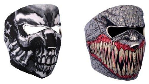 GOODSPORTS© - Lot de 2 Cagoule Masque Protection Neoprene Assassin' Skull + Demon - Taille Unique réglable - Airsoft - Paintball - Outdoor - Ski - Snow - Surf - Moto - Biker - Quad
