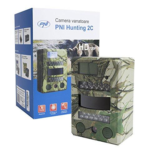 PNI 8MP 720P Hunting Cámara, Cámara de Caza Wildlife Camera Hunting 2C, Ranura para Tarjeta Micro SD, Modos de fotografía y película, visión Nocturna 26IR LED, IP54 Waterproof Class