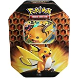 Pokemon TCG: SM11.5 Hidden Fates Gx Tin- Raichu + 1 of 3 Foil Pokémon-GX Cards + 4 Booster Pack