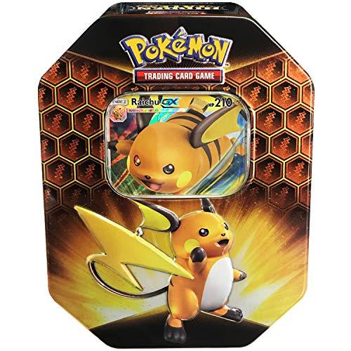 Pokemon TCG: SM11.5 Hidden Fates Gx Tin- Raichu + 1 of 3 Foil Pok