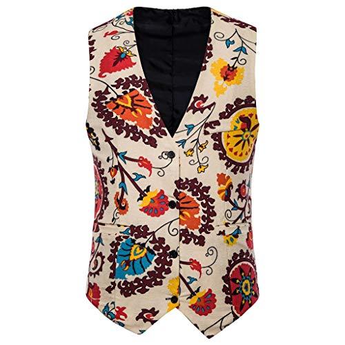 Dasongff Klassieke Casual Floral Jacquard Boho stijl bedrukte vesten Medium beige