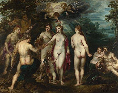 Spiffing Prints Peter Paul Rubens - The Judgment of Paris Dark - Extra Large - Matte - Brown Frame