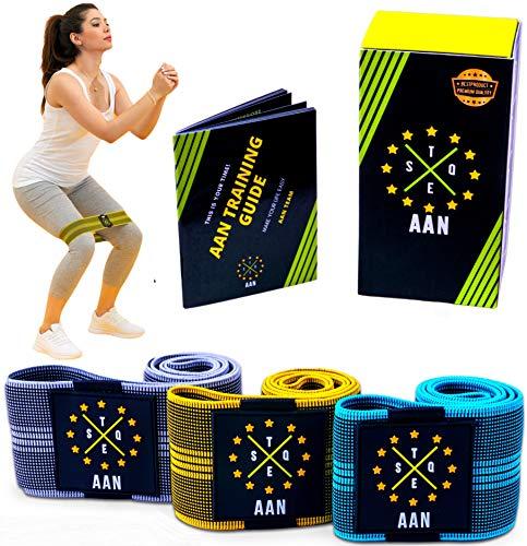 AAN Stoff Resistance Bands Set- widerstandsbänder Set-Fitnessbänder Set-Terra Band-Booty Band- mit 3 Verschiedenen Ebenen (rutschfest, angenehme und stark) für Sport, Workout und Muskelaufbau