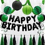 ADLKGG Happy Birthday Decorations for Men - Green Black Happy Birthday Balloon Banner - Hanging Party Swirls, Paper Lanterns, Honeycomb Balls, Clover Garland, Foil Fringe Curtain, Latex Balloons
