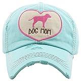 H-212-DMH54 Distressed Baseball Cap Vintage Dad Hat - Dog Mom Heart (Mint)