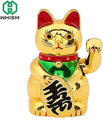 Bewinner Waving Cat,Golden Waving Hand Paw Up Wealth Prosperity Welcoming Cat Good Luck Feng Shui Decoration,5 Inches