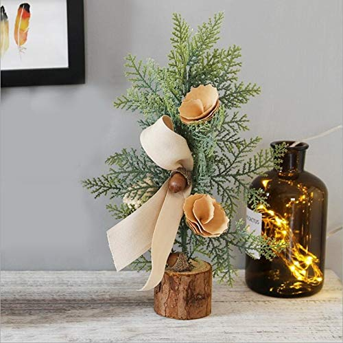 KEAIDO 25cm/9.8'' Tabletop Christmas Tree, Desktop Ornament Holiday Decoration Potted Artificial Small Xmas Craft DIY Tree with Wooden Burlap Base Stand (C)