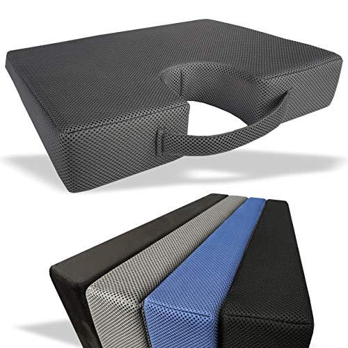 DIY Doctor Medipaq Sitzkissen Auto Mit Memory Foam – Ergonomisches Sitzkissen Als Rückenstütze Und Höhenverstärkung - Waschbarer Reißverschlussbezug – Lordosenstütze Auto - Grau - 3D - Mesh
