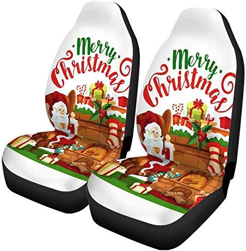 Set van 2 autostoelhoezen Kerstman Kerstmis Open haard voor wintervakantie en opslag Universele Auto Voorstoelen Protector Past voor auto