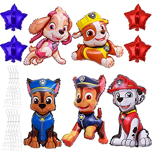 YEAP Paw Patrol XXL Folienballon Luftballon, Paw Patrol Geburtstag Luftballons Dekoration Set, Happy Birthday Deko-Luftballon Balloons, Paw Dog Patrol Ballon Partydekorationen, 5+4 Stück