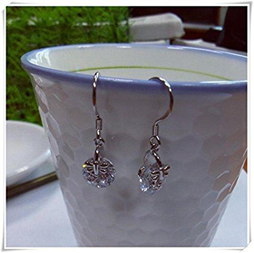 Pendientes de plata de ley con circonitas para la oreja, pendientes de cadena, pendientes de rosca, joyería para el día a día, regalo para ella