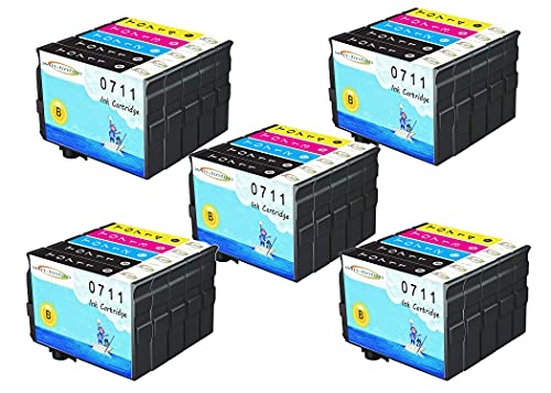 Wintinten Paquete de 25 Reemplazo para Epson T07 T07XL T0711-T0714 Cartucho de Tinta Compatible para Epson Stylus DX7000F, DX5000, DX4050, 4400, S20, S21, SX100, SX110, SX200, SX209, SX210 (25 Pack)