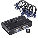 USB KVM Switch Box + 4 cavi VGA USB per PC Monitor/Tastiera/controllo del mouse...
