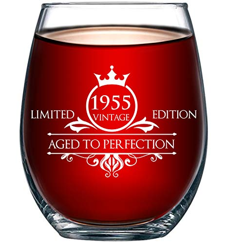 1955 65th Birthday Gifts for Women and Men Wine Glass - Funny Vintage Anniversary Gift Ideas for Mom, Dad, Husband or Wife - 15 oz Glasses for Red or White Wine - Party Decorations for Him or Her