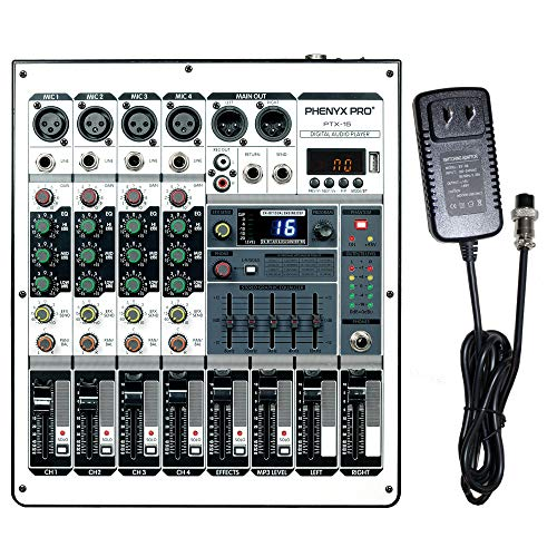 Professional Audio Mixer, Phenyx Pro PTX-15 Mixing Console, 4 Channels, USB Input, Stereo Equalizer W/ 16 Echo Effects, Ideal for Stage, Live Gigs, and Karaoke (PTX-15A)